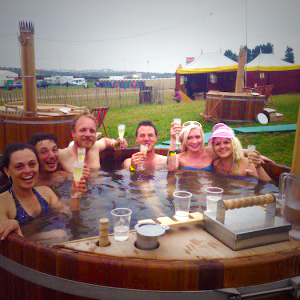 crew at Bestival hot tub