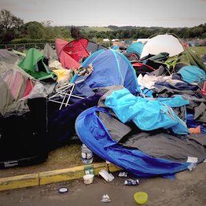 tents aftermath festivals rubbish
